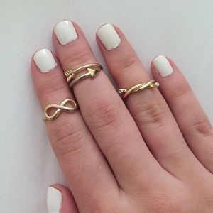 Set of 3 Gold Midi Rings